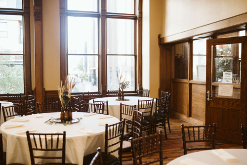 Fall wedding decor in The Best Place at the Historic Pabst Brewery located in Milwaukee, WI