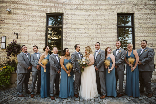 Wedding party in alley in Milwaukee, WI